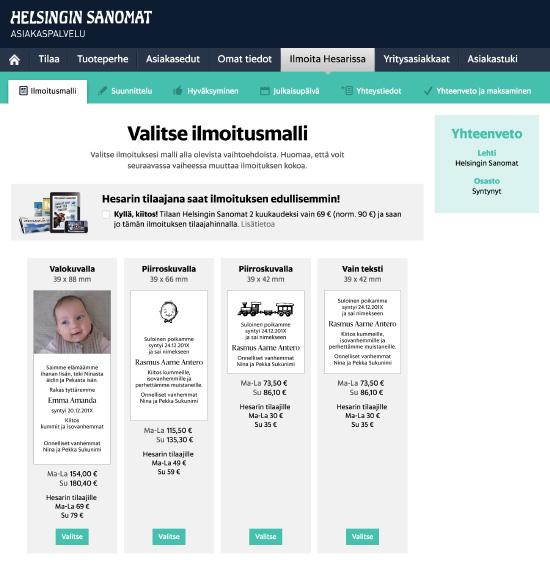 Helsingin Sanomien ilmoituspalvelu
